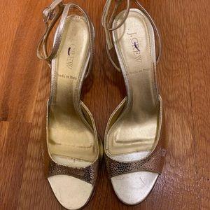 Jcrew J Crew leather gold heels size 7.5 NEW